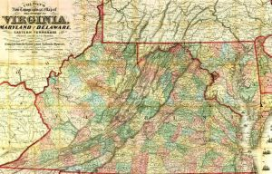 Map of Virginia 1860s