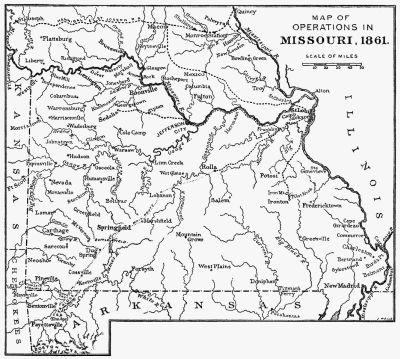Civil war era missouri map