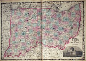 Ohio and Indiana Map 1861