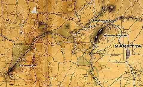 Civil War era map of Marietta, Georgia