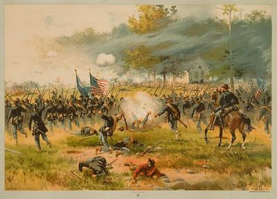 "Battle of Antietam: The white German Baptist Church is visible in the background in this 1887 painting called ""Battle of Antietam"" by Thure de Thulstrup"