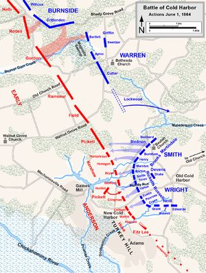 The battle lines of Cold Harbor, June 1