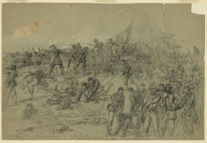 7th New York Heavy Artillery (serving as infantry) preparing to leave the trenches and charge the Confederate line, sketched by Alfred Waud
