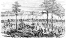 """""""The Siege of Petersburg--Battle of Ream's Station-The Attempt of the Enemy to Regain the Weldon railroad on the evening of August 25th, 1864"""" showing the """"repulse of the final confederate assault"""" according to the accompanying text. From Frank Leslie's Scenes and Portraits of the Civil War (1894)"""