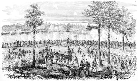 """The Siege of Petersburg--Battle of Ream's Station-The Attempt of the Enemy to Regain the Weldon railroad on the evening of August 25th, 1864"" showing the ""repulse of the final confederate assault"" according to the accompanying text. From Frank Leslie's Scenes and Portraits of the Civil War (1894)"